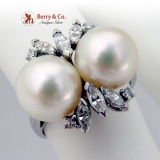 Vintage Double Pearl Ring Diamonds 14 K White Gold