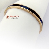 Vintage Band Ring 14 K Yellow Gold Black Enamel