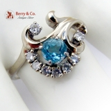 Vintage Aquamarine Floral Design Ring 14 K White Gold Diamond Accents