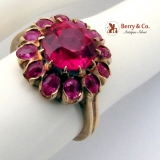Vintage Ruby Ring 10 K Yellow Gold