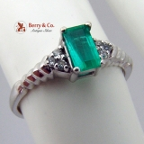 Vintage Emerald Ring 14 K White Gold Diamond Accents
