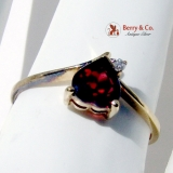 Vintage Garnet Heart Ring 14 K Gold Diamond Accent