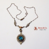 Edwardian Necklace 14 K White Gold Rose Gold Blue Topaz Seed Pearls