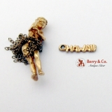 Vintage Hawaiian Charms Hula Dancer 14 K Gold