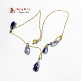 Vintage Amethyst Necklace Seed Pearls 14 K Gold