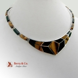 Magnificent Mexican Modernist Necklace Sterling Silver Tigers Eye Onyx
