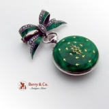 Ladies Watch Pendant Brooch Sterling Silver Guilloche Enamel Seed Pearls 1920