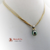 Amazing Tahitian Pearl Pendant 18K White Yellow Gold Liquid Chain Necklace