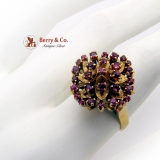 Synthetic Ruby Flower Cocktail Ring 14K Gold