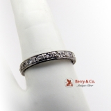 Antique Eternity Ring 14K White Gold Diamonds 1920