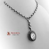 Antique Victorian Bird Locket Necklace Sterling Silver 1880