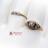 Antique Engagement Wedding Rings Set 14K Gold Diamonds 1910