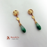 Asian Jadeite Drop Earrings 18K Gold 1940