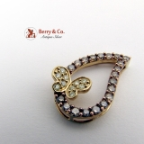Dazzling Large Butterfly Teardrop Pendant 10K Gold Champagne Diamonds