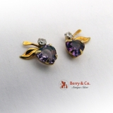 Amethyst Diamond Earrings 14K Gold