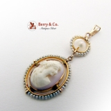 Edwardian Cameo Pendant 10K Gold Seed Pearls Carved Shell 1890