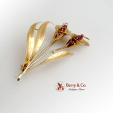 Amazing Cala Lily Brooch Italian 18K Gold Synthetic Rubies