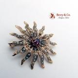 Victorian Starburst Pendant Brooch Pin 14K Gold Garnet Seed Pearls