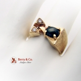 Geometric Gentlemans Ring 14 K Yellow Gold Black Star Sapphire Cabochon Diamond Accents