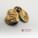 Art Nouveau 14 K Gold Cufflinks Ladys Faces 1900