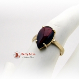 Vintage Tear Drop Garnet Ring 14 K Gold