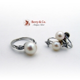 Splendid 14 K White Gold Ring And Earrings Cultured Pearls Diamond Accents
