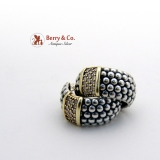 Caviar Band Earrings Sterling Silver 750 Or 18K Gold Diamonds