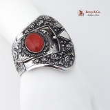 Antique Chinese Export Large Cuff Bracelet Sterling Silver Carnelian 1910