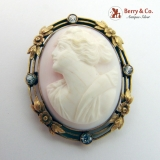 Large Cameo Brooch Pendant Shell 14K Yellow Gold White Sapphires 1890