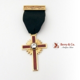 Knights Templar Cross Red Guilloche Enamel Onyx White Sapphire California 1954 14 K Gold
