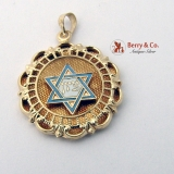 Judaica Pendant Star Of David 14 K Gold Enamel