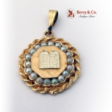 Judaica Pendant 14K Gold Seed Pearls