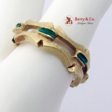 Arts And Crafts Style Ring Band 14K Yellow Gold Green Enamel