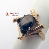 Vintage Black Star Sapphire Oval Cabochon 10K Gold Ring
