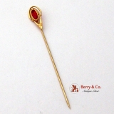 Retro Synthetic Ruby 10K Yellow Gold Stick Pin 1940
