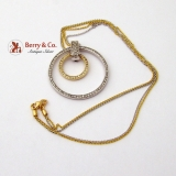 Double Circle Necklace Pendant White Yellow 14K Gold Diamonds 0.4 TCW SI2