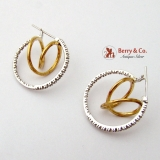 Hoop Swirl Earrings 10K White Yellow Gold Diamonds