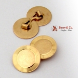 Retro Disk Cufflinks 10K Yellow Gold 1940
