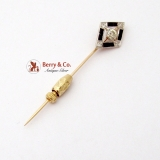 Vintage Art Deco 18K Gold Diamond Shape Stick Pin Sapphires Diamond 0.5 Ct VS2 I 1930
