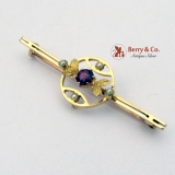 Vintage Victorian Bar Pin Brooch 15Ct Yellow Gold Garnet Seed Pearls 1900