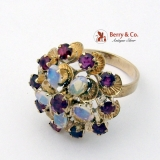Vintage Princess Ring 18K Gold Rubies Water Opals 1940