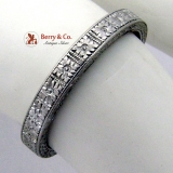 Vintage 18K White Gold Eternity Ring Diamond Inscribed Inside 1920