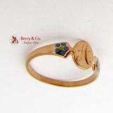 Vintage Baby Ring 10K Gold Enamel 1900