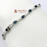 Marvelous 14K White Gold Tennis Bracelet Natural Sapphires Diamonds