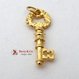 Ornate Key Charm Pendant 14K Gold