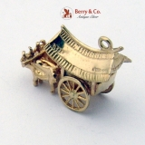 Vintage English Ox Cart Charm 375 9K Gold 1940