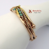 Vintage Victorian Bangle Bracelet Sheaf Of Wheat Yellow Rose Gold Seed Pearls Turquoise
