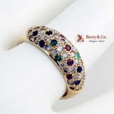 Dazzling 14K Yellow Gold Cocktail Ring Diamonds Sapphires Rubies Emeralds