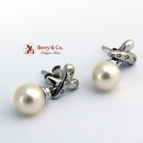 Banded Cross 14K White Gold Pearl Earrings Diamonds