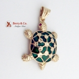 14K Yellow Gold Turtle Pendant Enamel Rubies